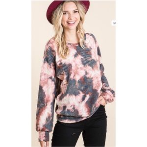 NWT Tie Dye Waffle Knit Long Sleeve Pullover